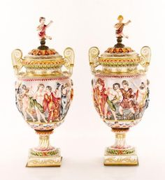 Pair capodimonte table lamps capo di monte appraisal values pair of 19th c capodimonte urns price guideurn19th altavistaventures Image collections