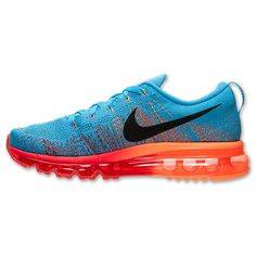 new concept 900ac 468bc Hommes Nike Flyknit Air Max Running Chaussures - Bleu Vif Gym Rouge Orange  Atomique