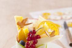 Salade de fruits frais et séchés, papillons amande, recette de salade de fruits frais et séchés, papillons amande