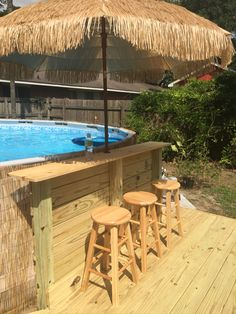 Above Ground Pool Landscaping, Above Ground Pool Decks, Backyard Pool Landscaping, Small Backyard Pools, In Ground Pools, Outdoor Pool, Pool Deck Plans, Pool Steps, Diy Pool