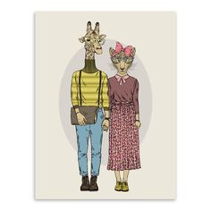 Modern Fashion Animals Deer Giraffe Love Couple Art Print Poster Wall Picture Canvas Painting No Frame Nordic Wedding Decoration