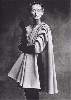 Irving Penn, Lisa Fonssagrives in coat by Balenciaga Paris, Vogue, 1950