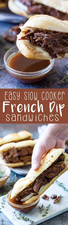The most tender, delicious, flavorful French dip ever, and it only takes 10 minutes of prep! Easy Slow Cooker French Dip Sandwiches are a favorite meal at our house. We eat them at least once a week! #ad #labreabakery