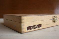 Vintage Pine Wood Box-Wood Tool Box-1970s, crafting painters box, wood briefcase. http://www.etsy.com/shop/BizarreVintageShop by Bizarre Vintage Shop $19.95