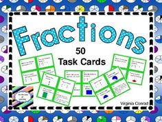 If your students have studied a variety of fraction skills, this set of 50 task cards will be great for review or assessment.  Several skills are covered in this set so be sure to take a good look at the preview.  I have included a student answer sheet and an answer key.Here are some of the concepts addressed in the task cards:identify the fractional part colored in of a shapeadd and subtract fractionscompare two fractions change a fraction to a decimalword problems with fractionsBe sure to…