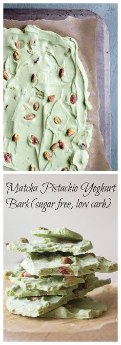 This simple dessert is not only light, sugar free, low carb and utterly delicious, it will also give you a serious antioxidant boost: Matcha Pistachio Yoghurt Bark.