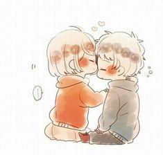 Cute Couple Poses, Cute Couple Drawings, Cute Little Drawings, Cute Drawings, Kawaii Chibi, Anime Chibi, Anime Art, Cute Chibi Couple, Anime Friendship