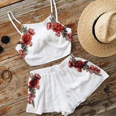 White Floral Embroidered Two-Piece Featuring Cropped Halter Top and Shorts