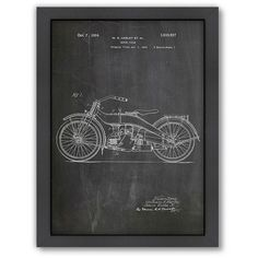 Americanflat ''Harley Motorcycle'' Framed Wall Art ($110) ❤ liked on Polyvore featuring home, home decor, wall art, framed wall art and vertical wall art