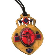 Art Deco Celluloid Pendant with Scarab, Egyptian Revival 1920s
