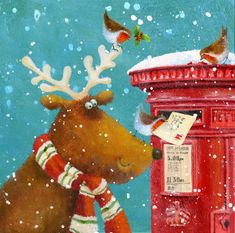 Robins helping a reindeer posting a Christmas card in a Royal Mail red post box - Jan Pashley, a British illustrator & designer.