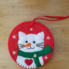 Felt cat ornament with red star, hanging cat decoration, ready to ship – christmas decorations Cat Christmas Tree, Christmas Sewing, Handmade Christmas, Etsy Christmas, Felt Christmas Decorations, Felt Christmas Ornaments, Beaded Ornaments, Christmas Projects, Holiday Crafts