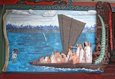 The Kurahaupō, one of the early exploring canoes, is known to many tribes. This mural shows it arriving in New Zealand, together with a taniwha (supernatural creature) which guided it. The painting is in front of the meeting house on Te Hotu Manawa o Rangitāne marae.