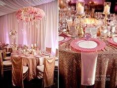 rose gold wedding decor….. photographer: milanes photography
