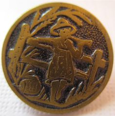 Wonderful Old Antique Vtg 19th C Metal Picture BUTTON Kate Greenaway, Storybook