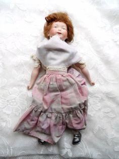 Old  Unusual Bisque Doll with Long Braided Red Hair & Homemade Clothes via Orphaned Treasures Etsy