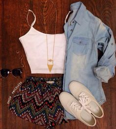 White Tank Top, Patterned Dolphin Shorts, Denim Button-Up, White Vans or Converse, and Simple Gold Necklace