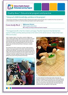 In the second case study in our three-part series on 'Educational program and practice', we visit an outside school hours care service in northern Melbourne and find out how the children participate in planning the program. Download it here: http://bit.ly/1fHZJr1