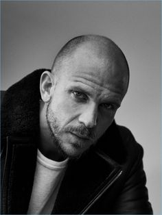 Ready for his close-up, Gustaf Skarsgård wears a Vince shirt with a Theory coat.