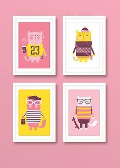 Nursery art girl, girls print set, hipster cats, nursery prints, girls bedroom, cat prints, kids room, childrens decor
