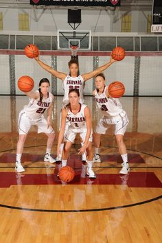 Best class photo from the women's basketball team's photo day goes to the Class of 2012, Victoria Lippert, Elle Hagedorn, co-captain Miriam Rutzen and co-captain Emma Golen.