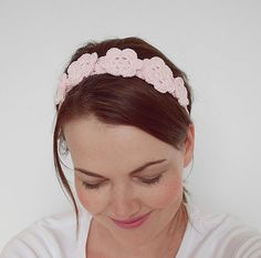 Pink Flower Crown - Quartz Rose Pink Crochet Headband - Boho Wedding Headband - Flower Girl and Bridesmaid Headband - CHOOSE YOUR COLOR!