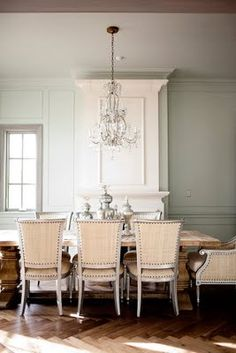 Simple glamour dining room.
