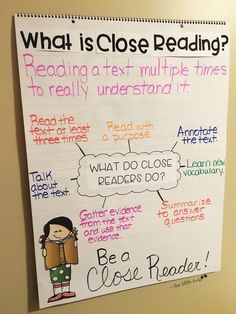 Close Reading Activities: Flipbook, Bookmarks, Posters, Anchor Charts - Close Reading Anchor Chart Applying Stock chart as well as Topographical Routes Close Reading Strategies, Close Reading Activities, Reading Skills, Close Reading Lessons, Reading Resources, What Is Close Reading, Close Reading Poster, Ela Anchor Charts, Third Grade Reading