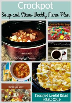 Crockpot Soup and Stews Weekly Menu Plan has amazing healthy dinner recipes your whole family will love! Be sure to try one of these crockpot recipes soon.