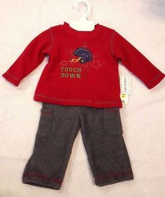 New Mayfair Red Gray Football Touchdown Fleece Set Baby Boy Size 3-6 Months #Mayfair #Everyday