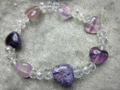Genuine Charoite and Purple Fluorite Healing Stretch Bracelet Mental Focus Increased Intuition