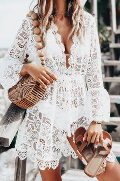 Lace swim cover up.