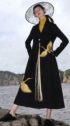 top quality black wool coat plus size Winter coat V neck mbroidery tassel coat Long Winter Coats, Winter Coats Women, Coats For Women, Black Wool Coat, Plus Size Winter, Maxi Coat, Ladies Dress Design, Tassel, Trench Coats