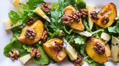 Three ways with... peaches (incl peach and scallop skewers, peach melba ice cream and this gorgeous peach and blue cheese salad)