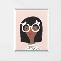 Lunettes avec illustration de chat lunettes impression-Quirky art print-dortoir impression-art print-illustration de chat fille-chat
