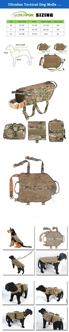 Ultrafun Tactical Dog Molle Harness Nylon Training Patrol Vest Packs with 3 Detachable Pouches (XL, Camo). High quality Tactical Dog Vest has a duty nylon with ripstop design, it can be last for a long time using. MOLLE system on both side of vest can be attached any MOLLE pouches, certainly including the pouches we provided. You can add some velcro panel down the back for any patch furniture. We have 3 sizes totally, providing sundries pouch, zipper pouch and medical pouch totally 3...
