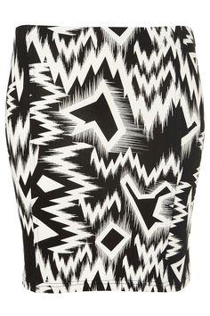 Crazy Ikat Print Bodycon Skirt