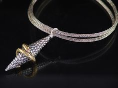 Sheila Schwede - Red Eyed Serpent -Fine silver clay, 24k gold, ruby, Viking knit chain