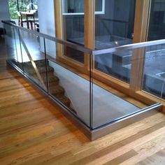 Glass railing with solid aluminum base – Yurihomes Glass Handrail, Glass Railing System, Glass Stairs, Glass Balustrade, Glass Fence, Modern Stair Railing, Modern Stairs, Deck Railings, Balcony Glass Design