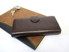 Brown Womens Wallet Moc Croc Leather Billfold by sweetie2sweetie