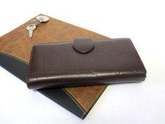 Brown Womens Wallet Moc Croc Leather Billfold by sweetie2sweetie