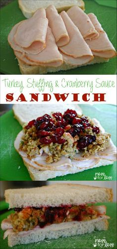 This Turkey Stuffing and Cranberry Sauce Sandwich is a filling lunch or  dinner option that combines all of your favorite  Thanksgiving flavors! DontCallMeBasic AD @fosterfarms
