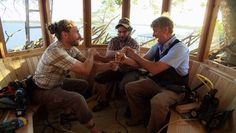 Pete Nelson, Alex, And Seanix In A Treehouse That They Are Building For A  Client.