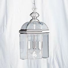 Chrome Lantern Pendant Light - Chrome finished Solid Brass hall lantern in Moroccan style with hand polished bevelled glass. Lantern Pendant Lighting, Brass Lantern, Ceiling Pendant, Pendant Lamp, Pendant Lights, Indoor Lanterns, Lantern Light Fixture, Beveled Glass, Light Fittings