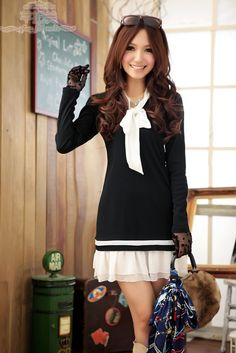 Asian Fashions - I have to say that I'm a complete sucker for sailor fashioned outfits. This dress in particular is very pretty in a simple way. You could wear just the dress or throw on some tights underneath.