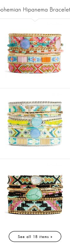 """""""Bohemian Hipanema Bracelets"""" by girl-intuitive ❤ liked on Polyvore featuring Summer, travel, beach, colorful, bright, jewelry, bracelets, string jewelry, braid jewelry and bead jewellery"""