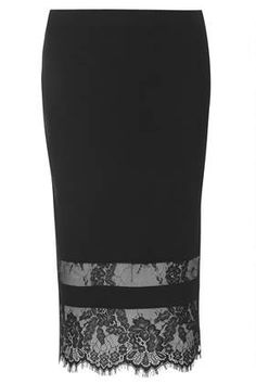 Super cute skirt! Wish I could fit into it...maybe one day!  Lace Insert Bodycon Tube Skirt at Topshop.com