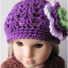 Crochet hat for 18' American Girl Doll. You can modify adult hat patterns to fit these dolls by using a size f hook and using less pattern repeats around center top..