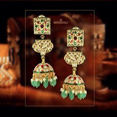 These eccentric green earrings with gorgeous kundans and minakari will make you fall in love with them. By Just Jewellery, available at Minerali. #minerali_store #eccentric #earrings #gorgeous #kundans #minakari #designerearrings #linkingroad #bandra #minerali