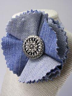 Recycled Denim Flower Pin by crochetgirl on Etsy, $10.00